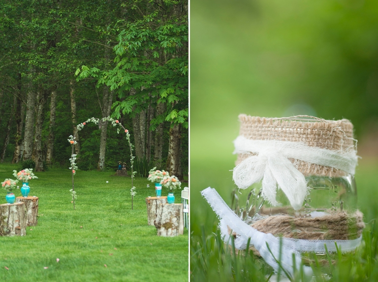 rustic wedding decor with teal and peach DSC_7848