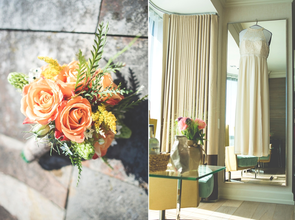 an ivory wedding gown and salmon peach rosas await the bride to wear them on the balcony of their hotel room at the Inn at the market