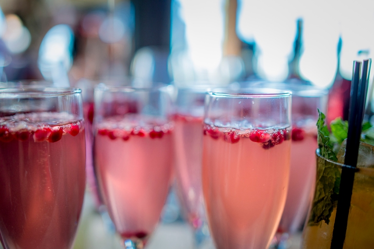 cocktail with pomegranate D+T's wedding by Jane Speleers