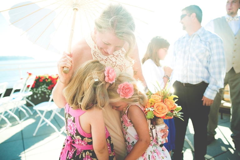 Darci and the flower girls with glare