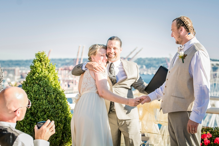 Minister congratulates bride and groom
