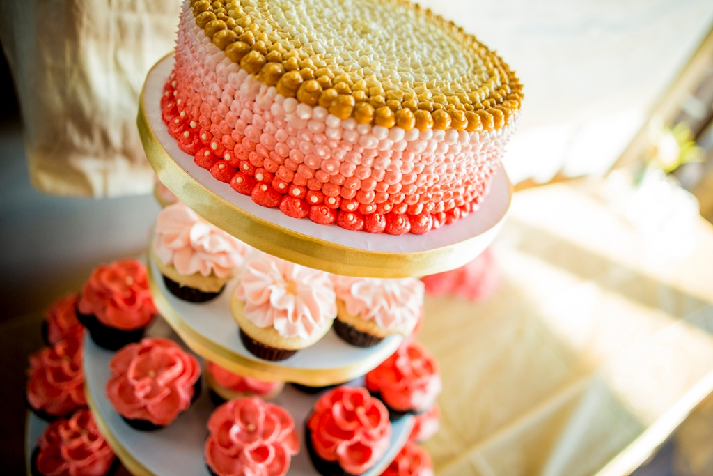 pink and yellow wedding cake modern simple D+T