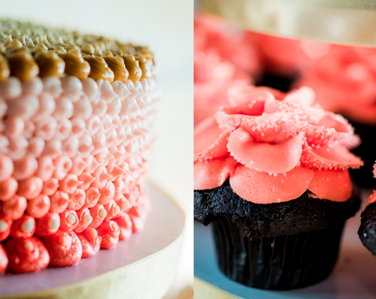 wedding cake and cupcakes by Jane Speleers Photography