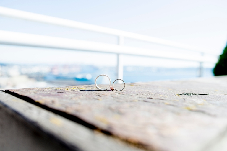 wedding rings by the water