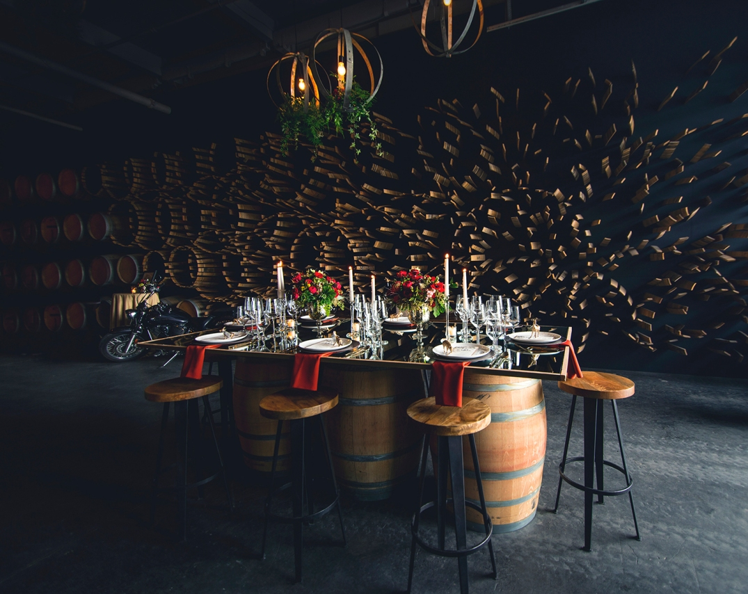 Kerloo SODO set up for Wedding at I DO SODO event 2016 mirror top table and barrels for base with wood and metal legs stools .jpg