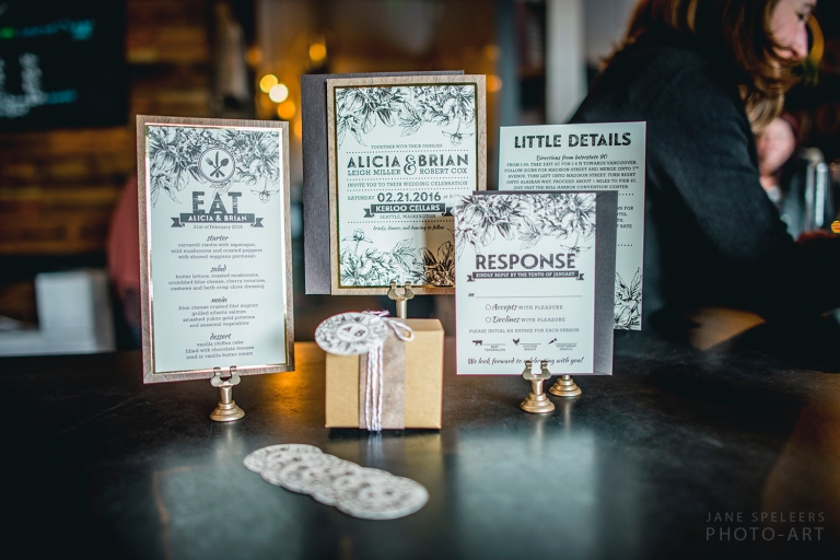 Rustic vintage edgy wedding invites made with wood and metalic edge styled by MG Davis events Seattle