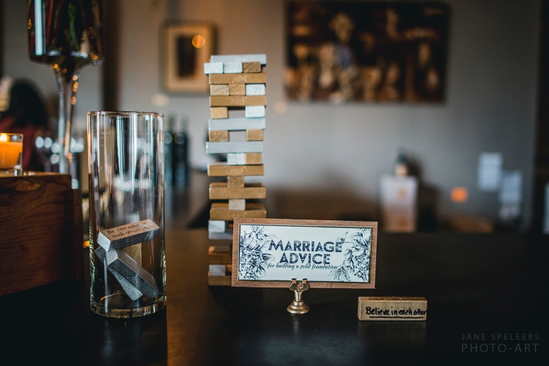 Wedding gold and silver jenga with Marriage advice game styled by MG Davis Events at Kerloo Cellars Seattle