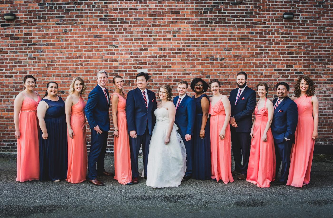 DSC_2150Everett_Wedding_Ballroom_Jane_Speleers_photography_Rachel_and_Edmund_Bridesmaids_peach_dresses_groomsmen_2017