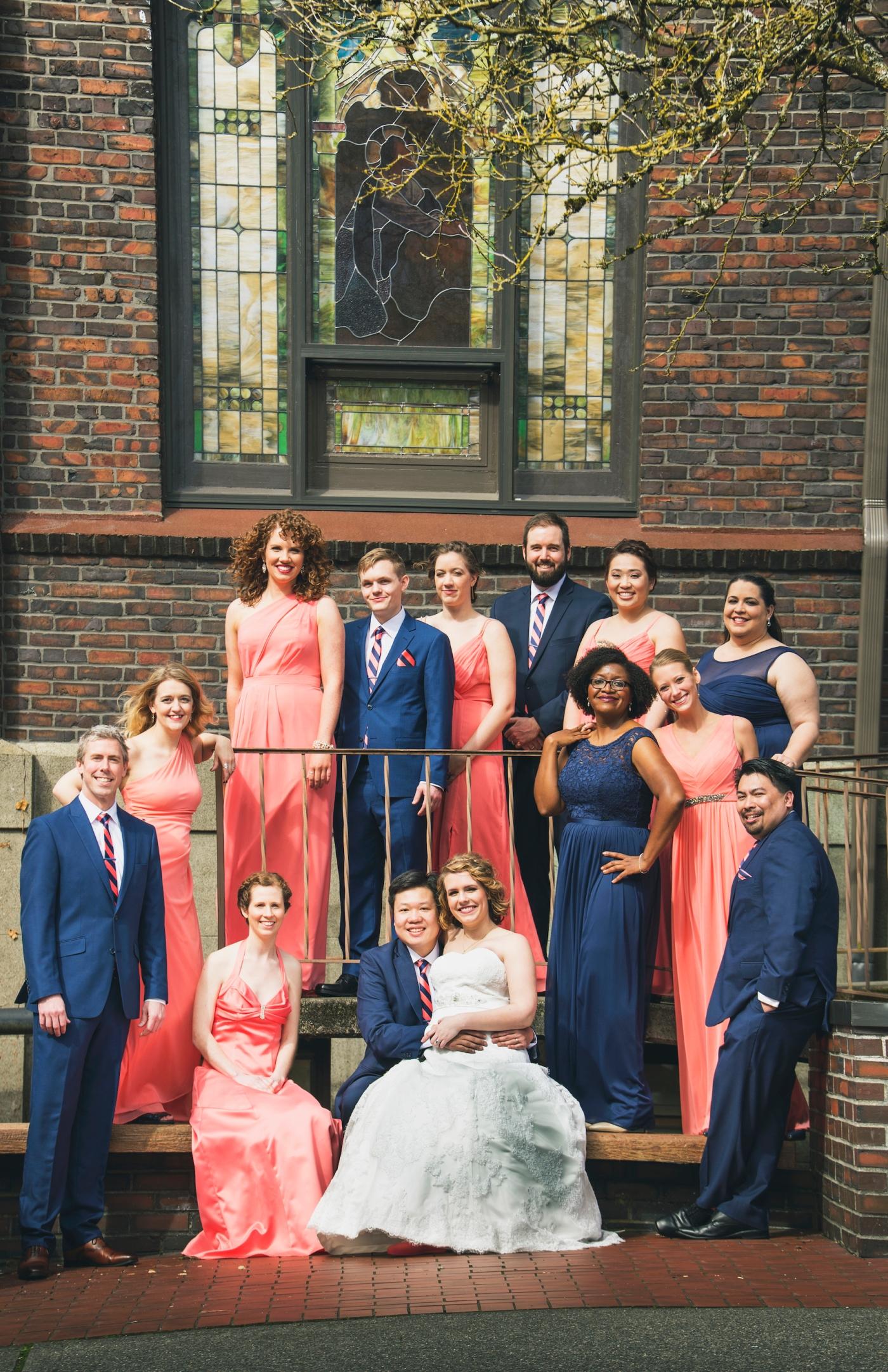 DSC_2190Everett_Wedding_Ballroom_Jane_Speleers_photography_Rachel_and_Edmund_Bridesmaids_peach_dresses_groomsmen_2017