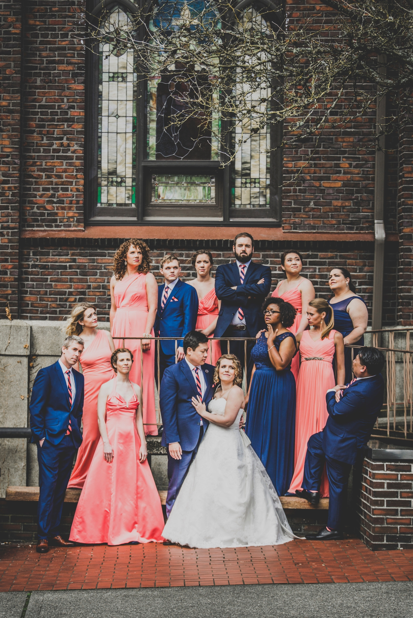 DSC_2200Everett_Wedding_Ballroom_Jane_Speleers_photography_Rachel_and_Edmund_Bridesmaids_peach_dresses_groomsmen_2017