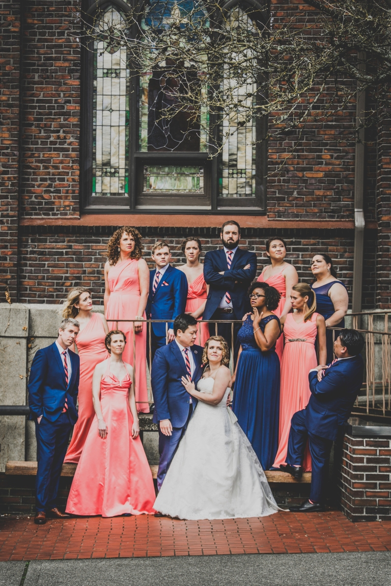 DSC_2200Everett_Wedding_Ballroom_Jane_Speleers_photography_Rachel_and_Edmund_Bridesmaids_peach_dresses_groomsmen_2017