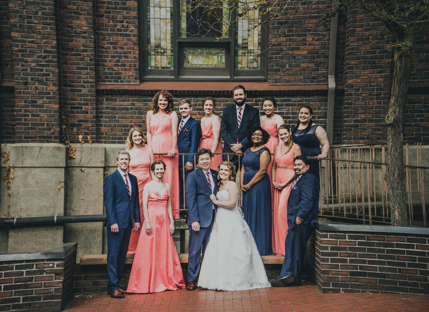 DSC_2209Everett_Wedding_Ballroom_Jane_Speleers_photography_Rachel_and_Edmund_Bridesmaids_peach_dresses_groomsmen_2017