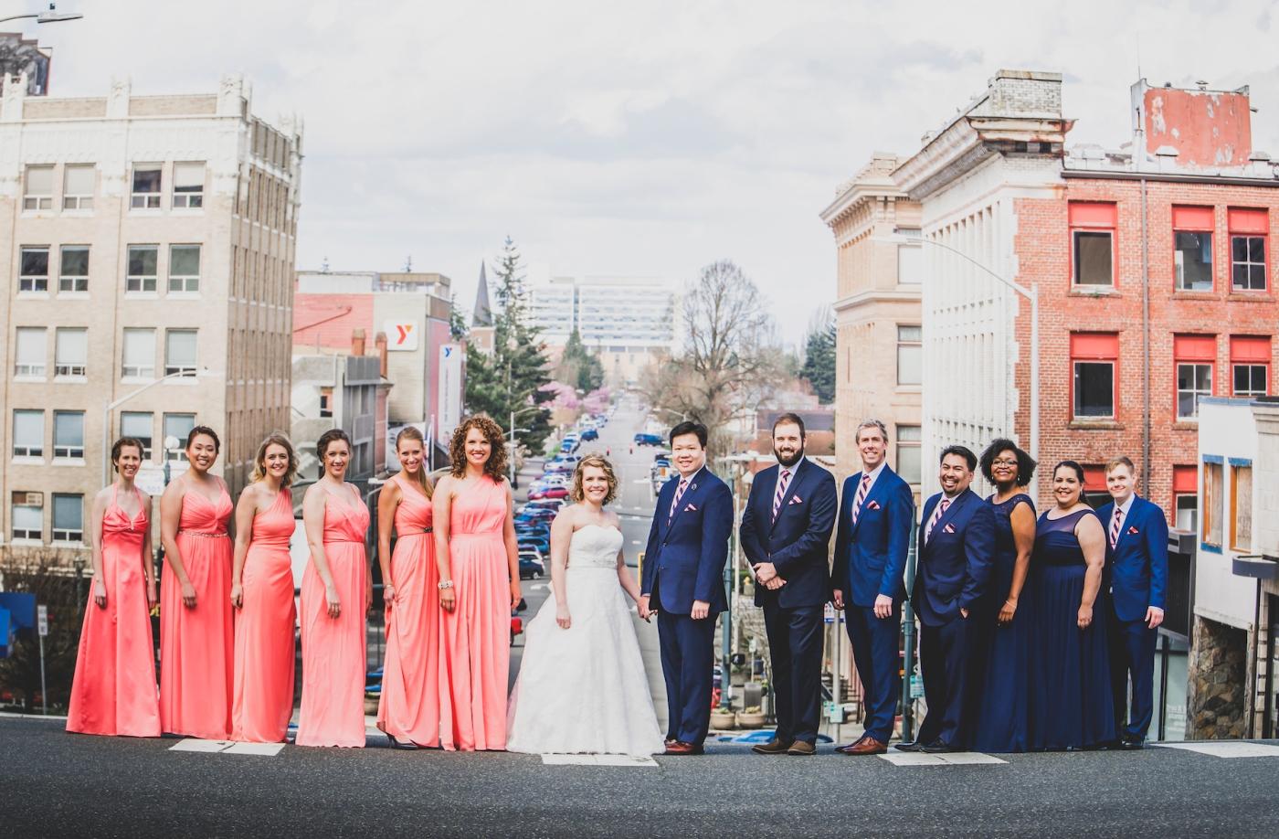 DSC_2245Everett_Wedding_Ballroom_Jane_Speleers_photography_Rachel_and_Edmund_Bridesmaids_peach_dresses_groomsmen_2017