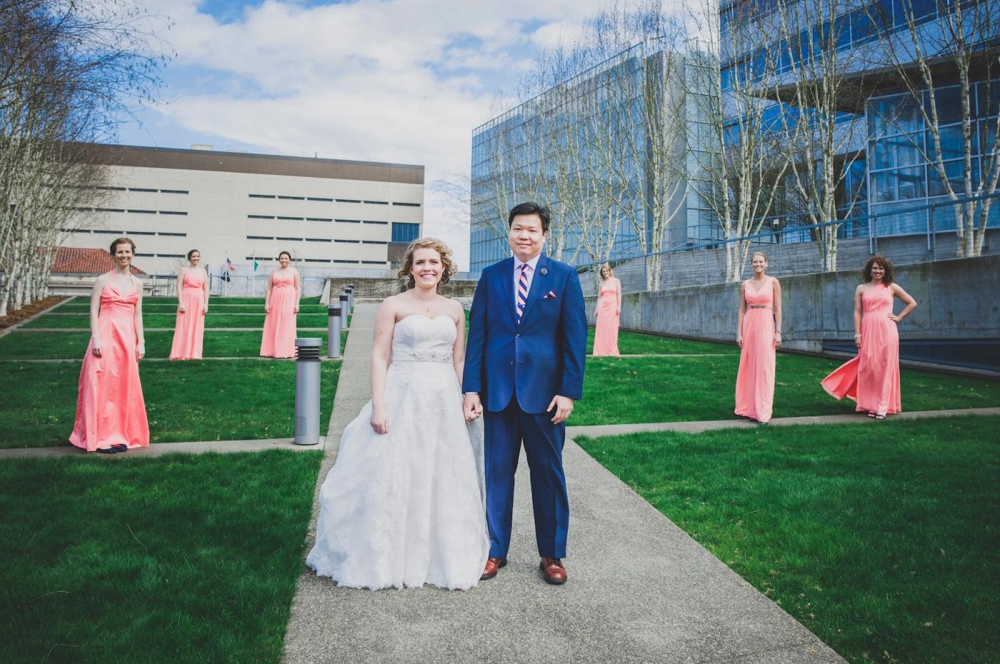 DSC_2281Everett_Wedding_Ballroom_Jane_Speleers_photography_Rachel_and_Edmund_Bridesmaids_peach_dresses_groomsmen_2017